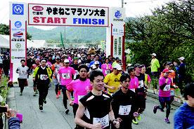 第24回やまねこマラソンが開かれた=11日午後、上原小学校