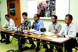環境省がIUCN現地調査に関する会見を開いた=20日、国際サンゴ礁研究・モニタリングセンター