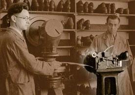 Doppelmaschine in der Werkstatt meines Großonkels Siegfried Brill, 1936.