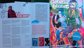 Ein Interview mit Kirsten Reinhardt im Magazin der Autorenbuchhandlung Berlin: Geistesblüten.