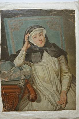 Vorzustand Gräfin Carolina Promnitz, Gemälde unaufgespannt