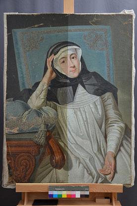 Zwischenzustand Porträt Gräfin Carolina Promnitz, Firnis zur Hälfte entfernt