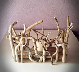 portavelas madera de mar, madera de mar, decoración con palos, eco desing, vymcreaciones, vymcreaciones.com