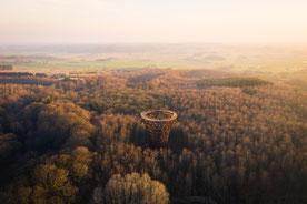 Der neue Turm Skovtårnet im Wald von Gisselfeld Kloster auf Seeland. Foto: PR/VisitSydsjælland-Møn