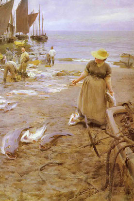 Anders Zorn  'Fish Sale, St Ives' (1888)