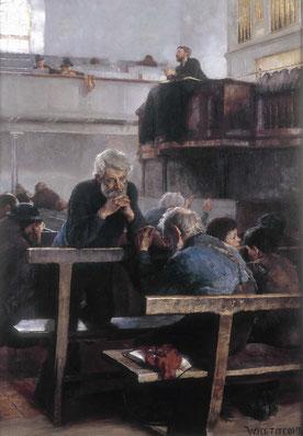 William Titcomb  'Primitive Methodists at Prayer, St Ives'  (RA 1889, Paris 1890 - medal)              (Dudley Art Gallery - Art UK)