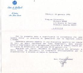 La lettera d'invito a Michele Dodde (clicca per ingrandire)