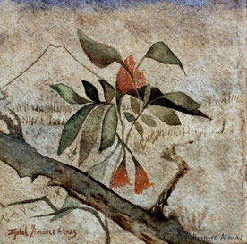 Acuarela sobre papel hecho a mano,  20 x 20 cm, 2001. Colección Privada.
