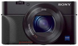 Sony RX100 mit zusätzlichem Handgriff; markierter Bereich für die Beabeitung zur Nutzung mit dem pocketPANO Nodalpunktadapter