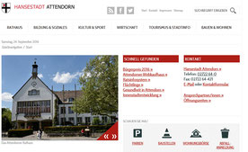 Die Startseite der Homepage der Stadt Atendorn