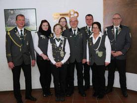 Von links nach rechts: 1. Vorsitzender Jürgen Mannier, Alena Fehler, Gertrud Dummeier, Verena Dummeier, Ulrich Dummeier, Matthias Mannier, Silvia Renzelmann, Joachim Rohlfing