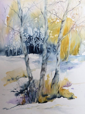 Baume im Winter Aquarell, Winterlandschaft in Aquarell.