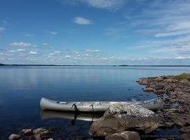 Rast auf einem kleinen namenlosen Eiland irgendwo im Bolmen-See