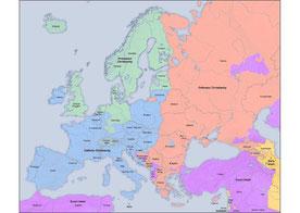 blau: röm. kath, grün: evang., gelb und dunkelrosa: Islam, pastell - rosa: Orthodoxe Christen