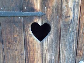 Holztür eines alten Klohäuschens