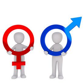 Zeichen für Frauen und Männer