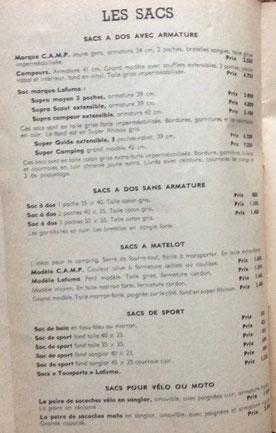 Catalogue pour le camping - 1956