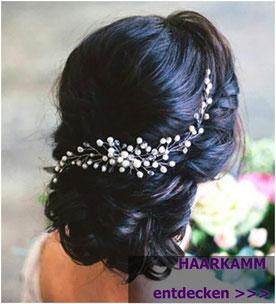 Haarkamm Perlen Blumen Strass Vintage