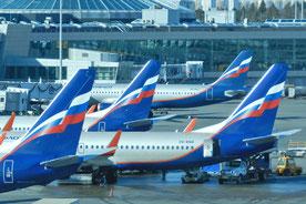 Aeroflot-Flugzeuge in Moskau Scheremetjewo
