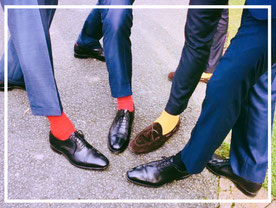 suits, colored socks & shoes, fashion for men
