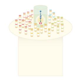 ↑当日の展示イメージです。この筒の中に皆さまのメッセージを入れてご縁ある方にギフトします。
