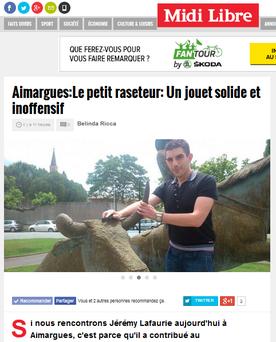 Voir l'article sur le Midi Libre comme chef de projet web pour le petit raseteur