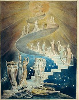 大天使ミカエルを見ていたウィリアム・ブレイクの絵
