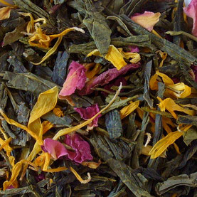 Green tea, calendula, rose petals and passionflower