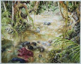 """""""Peru, Bagua, 5.Juni 2009"""", Aquarell, Zeichnung, 49 x 60 cm, 2009, unverkäuflich"""
