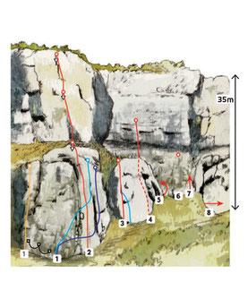dessin falaise, sketch climbing routes