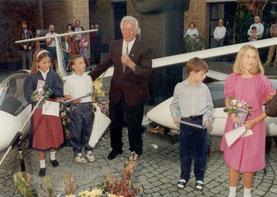 Die Enkel von Gotthilf Schulin (li.) und Otto Ehrmann (re.) bei der Taufe
