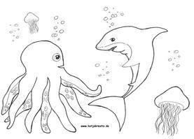 Ausmalbild Malvorlage kostenlos Cottbus Hai shark octopus krake unter dem Meer Unterwasserwelt