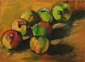 après Cézanne, nature morte de pommes, 33/24 oil on canvas
