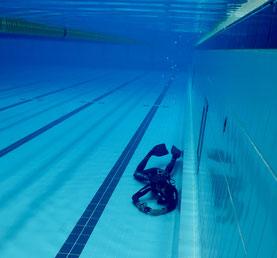 Nik beim Dokumentieren seiner Schützlinge im Olympia-Schwimmbad Funchal, Madeira