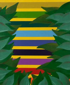 Rayures et feuillage, 2015, Acrylic on canvas, 55,5 x 45,5 cm