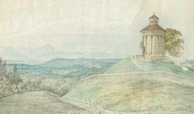 Kolorierte Zeichnung, Johann Jakob Dorner d. J. zugeschrieben, © Museum   Starnberger See