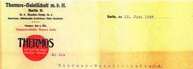 Briefkopf der Thermos-Gesellschaft 1907