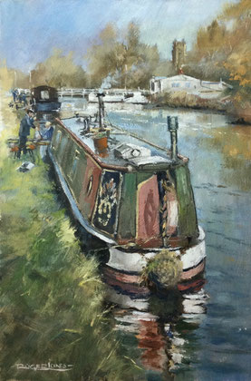 Roger Jones 'Essential Maintenance, Sharpness Canal', oil in the process of drying