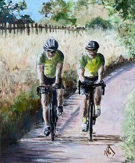 By Heather Teather SUNDAY CYCLISTS We watched a group of cyclists pass us while we were out walking one sunny summer day. The shadows were amazing. OILS