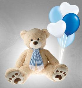 Plüschtier XXL Riesen Teddy Bär Teddybär mit Schal Ballons Luftballons Geschenk Überraschung Geburt Geburtstag Junge Mädchen