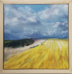 """Autumn Field at Winklebury, Berwick St. John. 30.3 x 30.3cm acrylic on canvas.  AFWB01a."