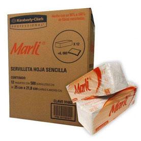 Servilleta Tradicional Marli. Caja de 12 paquetes de 500 hojas. Color Blanco