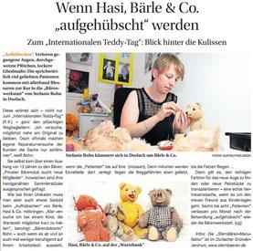 Zeitungsbericht - Vorstellung der Kuscheltier Klinik