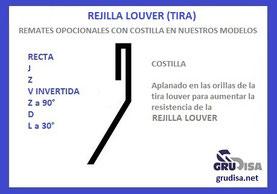 REJILLA LOUVER D (TIRA) CON Y SIN COSTILLA