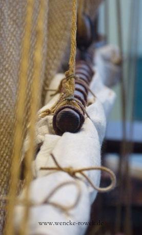 Segel, Fischnetz am Mast eines Fischkutters