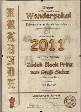 Unser kleiner Zecki hat es 2011 geschafft in der LG Sachsen den 1.Platz in seiner Rasse zu erreichen.