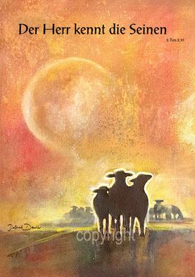 Schafe orange Sonne 2. Tim.2,19
