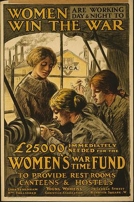 """Propaganda realizada por Gran Bretaña para promover el trabajo femenino durante la guerra. """"Las mujeres ganan la guerra""""."""
