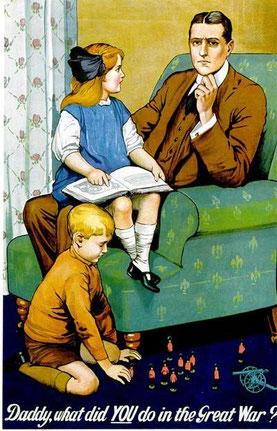 """""""Papá, ¿qué hiciste tú durante la guerra?"""" Propaganda británica para fomentar el patriotismo."""