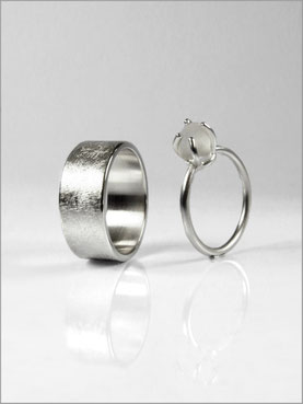 Wedding rings - frosted glass pearl - Nelly Chemin